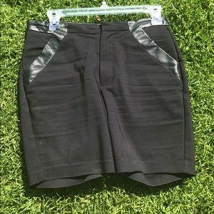 H & M Bermuda Leather trim pocket shorts